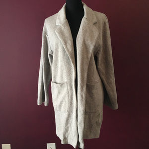 Zara W&B Collection Light Gray Open Front Cardigan